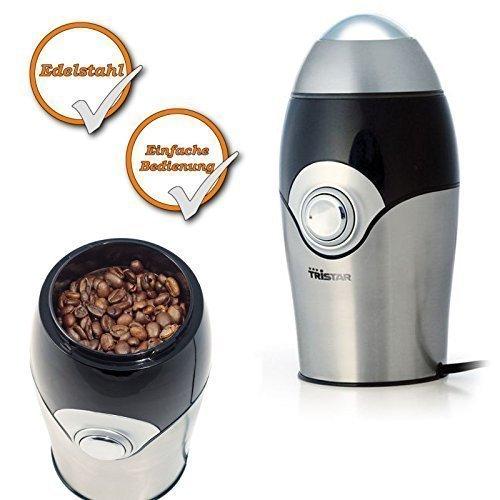 Edelstahl Kaffeemühle, mahlt für bis zu 10Tassen Kaffeepulver, 150Watt, Edelstahl Mahlwerk
