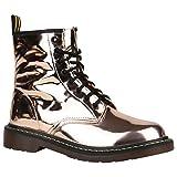 Stiefelparadies Damen Outdoor Worker Boots Prints Gefütterte Stiefeletten Schuhe 148830 Rose Gold Agueda 38 Flandell