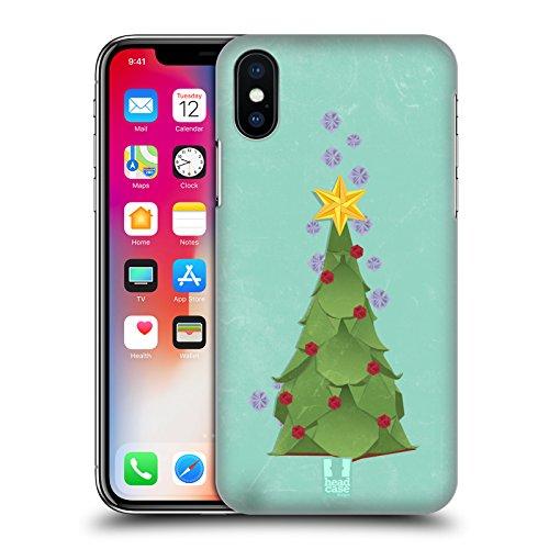 Head Case Designs Albero Di Natale Natale Origami Cover Retro Rigida per Apple iPhone X Albero Di Natale