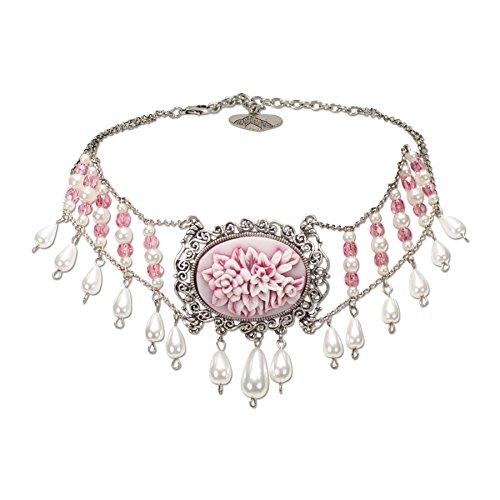 Alpenflüstern Trachten-Collier Rosalie Trachtenkette aus Perlen - Damen-Trachtenschmuck Dirndlkette rosé-rosa DHK125