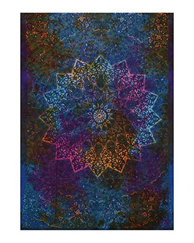 Twin Blue Tie Dye Bohemian Tapestry Elephant Star Mandala Tapestry Tapestry Wall Hanging Boho Tapestry Hippie Hippy Tapestry Beach Coverlet Curtain by Craftozone (Tie-dye-bleach)