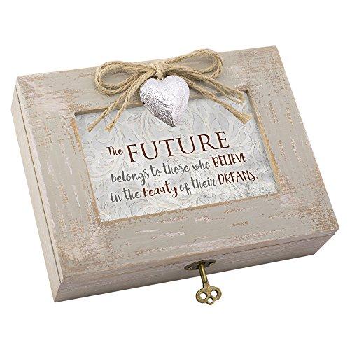 Believe the Beauty of Dreams Distressed Wood Locket Jewellery Music Box Plays Tune Wonderful ()