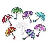 The Bead und Button Box Holzknöpfe, buntes Regenschirm-Design, 3,5 x 3,0 cm, ideal zum Nähen/Stricken/ Buch-/ Kartengestaltung/Bastelprojekte, 10 Stück