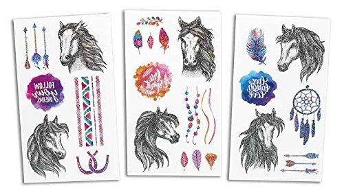 Kindertattoo Glitzer Pferde 3er Set - Abziehbilder, Tattoo mit Pferden, Mädchengeschenk, Give Away,