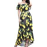 BringBring Damen V-Ausschnitt Chiffon Druck und Boden Boho Strand Kleid Partykleid