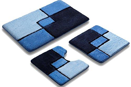 Vonella Badematte | Badteppich | GRÖßEN UND FARBAUSWAHL | PARTNER (Blau, 50 x 90 cm)