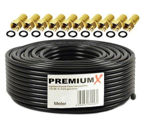 50m PremiumX Deluxe PRO Koaxial Kabel SCHWARZ 135dB 5-Fach geschirmt, reines Kupfer Sat Antennenkabel 50m 135dB 10x F-Stecker 8,0mm goldfarbig Isolation Sat-tv