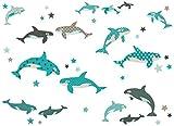 anna wand Wandsticker ALL MY ORCAS - Wandtattoo für Kinderzimmer/Babyzimmer mit Orca- / Wal-Motiven in Mint und Braun - Wandaufkleber Schlafzimmer Mädchen & Junge, Wanddeko Baby/Kinder