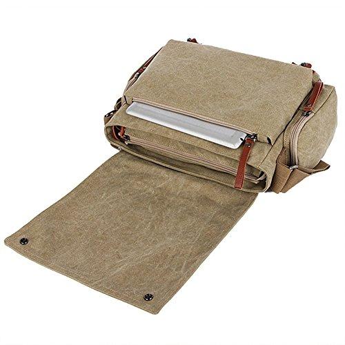 E-Bestar Herren Canvas Handtasche Canvas Tasche Herren Umhängetasche Herren Schultertasche Outdoor Herren Aktentasche Handgepäck 28cm x 39cm x 14cm(H x L x B) (Khaki) Khaki