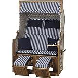 Trendy by devries Strandkorb Pure Greenline 120, Bezug Streif Geflecht antique, Stoff 711, blau / weiß