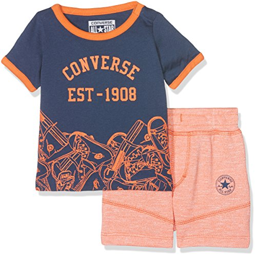 Converse Baby-Jungen T-Shirt Sneaker Toss Tee Set Orange (Wild Mango Marl), 0-12 Monate (Hersteller Größe:12 Monate) (Baby Converse Sneakers)