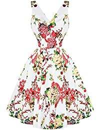 6a4a3ca4e869 Hearts & Roses London Paradise White Floral Vintage Retro 1950s Flared  Summer Sun Dress
