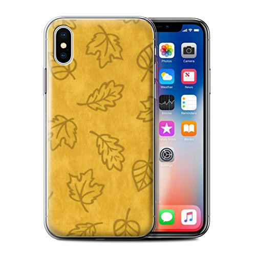 Stuff4 Gel TPU Hülle / Case für Apple iPhone X/10 / Blau Muster / Blatt Muster/Textil Effekt Kollektion Gelb