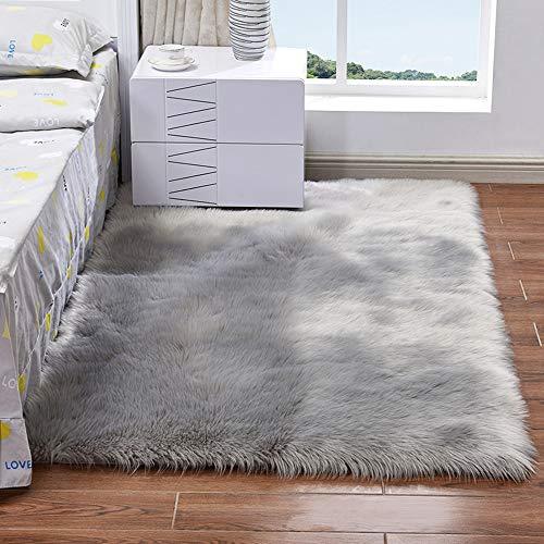 EXQULEG Spitzenqualität Lammfellimitat Teppich, Flauschig Weiche Nachahmung Wolle Teppich Longhair Fell Optik Gemütliches Schaffell Bettvorleger Sofa Matte (Grau, 80 x 180 cm)