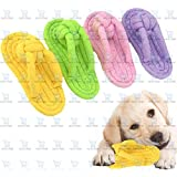 The DDS Store Pet Chew Toys Slipper Shaped Shoes Natural Cotton Rope Teething Playing Fun Toy Sandal for Cat Dog Puppy Supplies | Gums Massage and Stress Relief Rope Toys-1 Piece Color May Vary