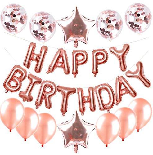irthday Dekorationen für Mädchen und Frauen/Folien Happy Birthday Banner/Partyzubehör 10 Latexballons, 2 Foliensterne,E ()