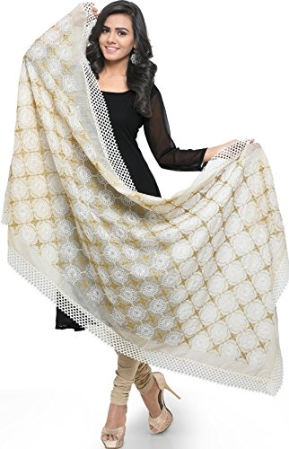 EthnicJunction Women's Embroidered Chanderi Dupatta (Offwhite_Free Size)