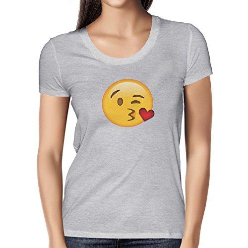 TEXLAB - Blow Kiss Emoji - Damen T-Shirt Grau Meliert