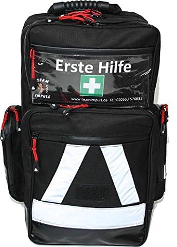 Erste Hilfe Notfallrucksack Farbe schwarz für Sportvereine & Freizeit - Nylonmaterial mit weißen Reflexstreifen und Waterstop Reißverschlüssen