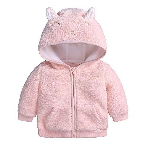 ngen Mädchen Cartoon Fleece Kapuzenjacke Mantel mit Ohren Warme Outwear Mantel Reißverschluss Bis Coat ()