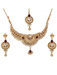 Apara Floral Antique Ruby Kundan And Austrian Diamond Studded Necklace Set With Maang Tikka
