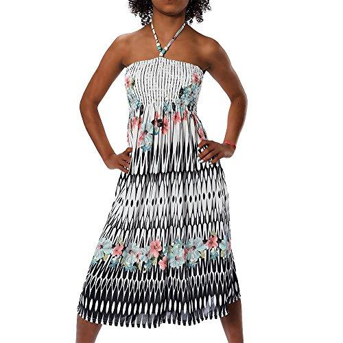 H112 Damen Sommer Aztec Bandeau Bunt Tuch Kleid Tuchkleid Strandkleid Neckholder, Farben:F-032 schwarz;Größen:Einheitsgröße