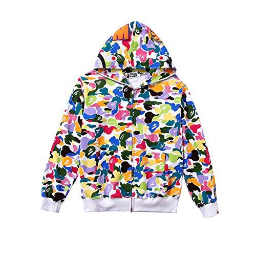 yur67 New Bape Candy Color Fan Hooded Cardigan Zipper Jacket Sweater Hoodie for Men/Women - Cotton Hooded Cardigan