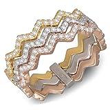 2Colors Ring, Silber, rhodiniert, dreifarbig, rosé und gelb, mit Cubic Zirkonia - 58 (18.5)