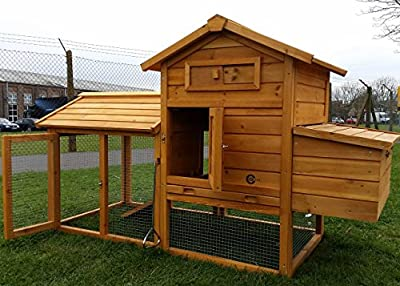 Cocoon Chicken Coop Hen House Poultry Ark Nest Box New With Roof To Be Fully Opened - Beautiful 5ft Model With Integrated Run & Cleaning Tray & Innovative Locking Mechanism (no Shiping To Northern Ireland, Islands, Scottish Highlands)