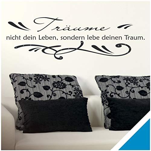 Exklusivpro Wandtattoo Spruch Wand-Worte Träume nicht dein Leben, sondern lebe deinen Traum. mit SWAROVSKI (zit01 hellblau) 120 x 37 cm mit Farb- u. Größenauswahl