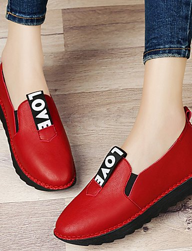 ZQ Scarpe Donna - Mocassini - Ufficio e lavoro / Formale / Casual / Serata e festa - Plateau / Comoda - Piatto - Sintetico - Nero / Rosso , red-us8.5 / eu39 / uk6.5 / cn40 , red-us8.5 / eu39 / uk6.5 / black-us6 / eu36 / uk4 / cn36