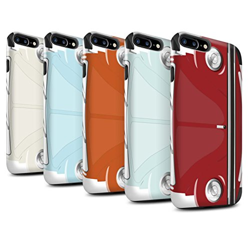STUFF4 Glanz Harten Stoßfest Hülle / Case für Apple iPhone 8 Plus / Leuchtend Orange Muster / Retro Beetle Kollektion Pack 9pcs