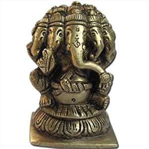 Five Head Lord Ganesha Sculpture Handmade Brass Hindu God Statues from India 7.62 x 4.45 x 5.08 cms