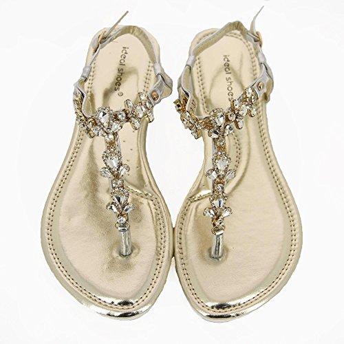 Ideal-Shoes Sandali piatti incrustées di strass e pietre Mabela a specchio Argento (argento)