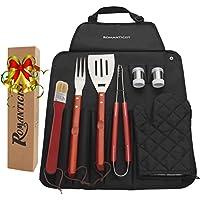 8-teiliges Edelstahl BBQ Set Set mit Schürze, Schürzen Set, Grillbesteck für Männer mit Geschenkbox Paket, von ROMANTICIST