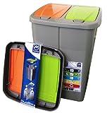 Mondex Müllbehälter 2K Orange/Grün 2 x 22,5 Liter Inhalt - Kompatibel 25 und 45 Liter Müllsammler