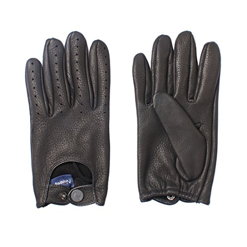 Nappaglo Herren Hirschleder Touchscreen Handschuhe Lederhandschuhe für fahren Motorrad Radfahren Ungefüttert Handschuhe (L (Umfang der Handfläche:19.2cm), Schwarz(Touchscreen))