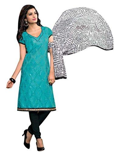 Vibes Women's Cotton Straight Fit Unstitched Salwar Kameez (V90-2204_Blue)