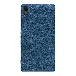 Royal Blue Cloth Print Back Case Cover for Sony Xperia Z2