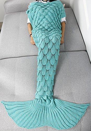 YiZYiF Handgemachte Strick Meerjungfrau Fischschwanz Decke Fleecedecke Sofadecke Schlafsack Mermaid Tail Blanket Kostüm für Baby Kinder Damen (Einheitsgröße, Mint Grün (Für Handgemachte Babys Halloween Kostüme)