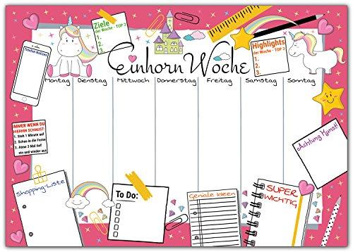 e EINHORN WOCHE zum Abreißen aus Papier - DIN A3 Schreibunterlage mit Wochenplaner, Tages-Plan, To-Do Liste, Shopping-Liste - 25 Blatt Abreißblock für kleine und große Mädchen ()