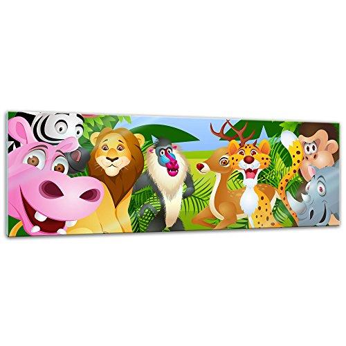 (Glasbild - Kinderbild - Tiere Cartoon II - 120x40 cm - Deko Glas - Wandbild aus Glas - Bild auf Glas - Moderne Glasbilder - Glasfoto - Echtglas - Kein Acryl - Handmade)