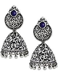 637a4c5a76 Zaveri Pearls Oxidized Silver Jhumki Earrings for Women (ZPFK5700)