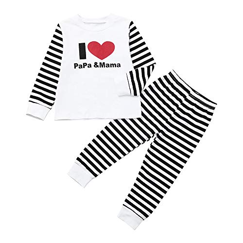 CHshe Bébé Vêtements Ensemble,I Love Papa&Mama Garçon Filles 2 Pcs Set Costumes Shirt Tops + Rayure Longs Pantalons Pyjama pour 3mois a 3ans (3-6 Mois, Red)