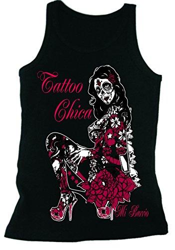 Mi Barrio Tattoo Chica Tattoo (Frau) Mädchen, T-Shirt, Schwarz, Größe XL