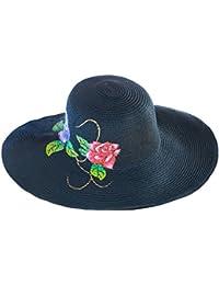 H.ZHOU Cappelli da Sole Cappello di Paglia Dipinto a Mano Cappello di Erba  Graffiti Berretto da Spiaggia Femminile Estivo Nero Piumino da… 9f3cd41ab3ef