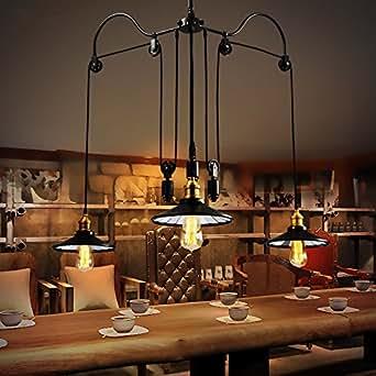 Rétro salon minimaliste lampe relevable suspension de style de Pays 3 lumières