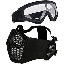 Aoutacc Airsoft de Protection Gear Set, à moitié Visage Maille Masques avec Protection Auditive et Ensemble de Lunettes pour CS/la Chasse/Paintball/Prise de Vue, Noir