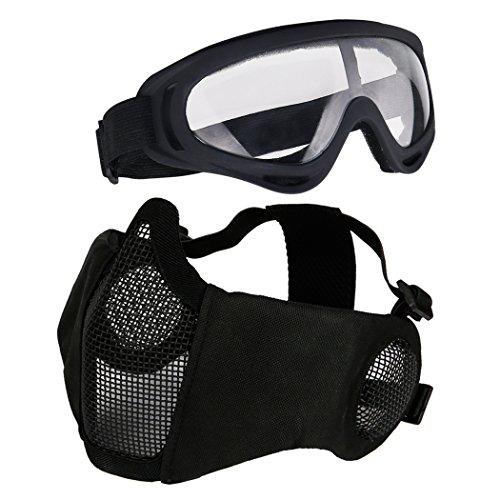 (Aoutacc Softair Set, Half Face Mesh Masken mit Ohr Schutz und Brillen Set für schutzausrüstungen CS/Jagd/Paintball/Shooting, Schwarz)