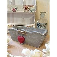 Piccolo Vintage scatola di legno misera Grigio lavato TRUG Cuore Maniglie decorativi Cuori Rossi - Piccole Scatole Decorative